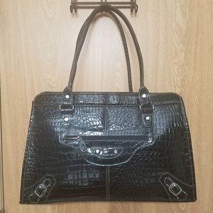 Snakeskin Black Handbag. Large and CLASSY!